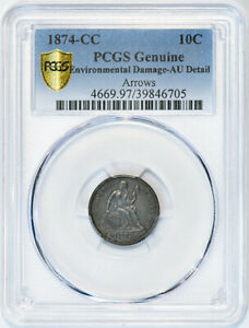 Click now to see the BUY IT NOW Price! 1874 CC 10C ARROWS PCGS GENUINE AU DETAIL
