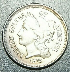 STUNNING  1872 3 CENT NICKEL MS BU UNC       BUY IT NOW OR OFFER