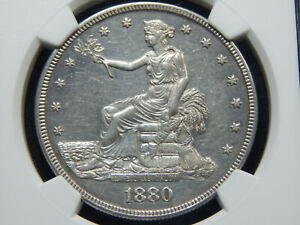1880 T$1 PROOF TRADE DOLLAR PF 58 NGC GREAT COIN
