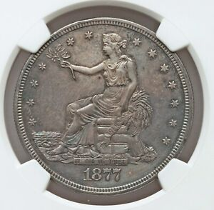 1877 S NGC UNC DETAILS TRADE DOLLAR TONED UNCIRCULATED NICE TYPE COIN