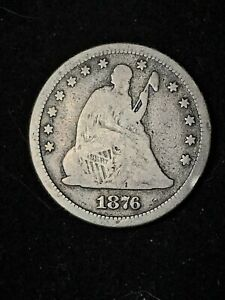 1876 SEATED LIBERTY QUARTER. 90  SILVER. ESTATE LIQUIDATION.