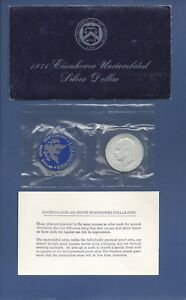 1971 U.S. MINT EISENHOWER 40  SILVER DOLLAR COIN UNCIRCULATED BLUE ENVELOPE