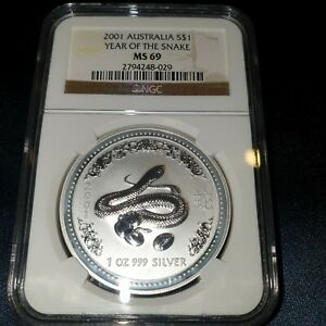 Click now to see the BUY IT NOW Price! NGC MS 69 2001 PERTH MINT LUNAR SERIES 1 YEAR OF THE SNAKE 1OZ 999 SILVER COIN