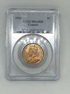 1912 CANADA  CANADIAN PCGS MS64 RD RED LARGE ONE 1 CENT COIN