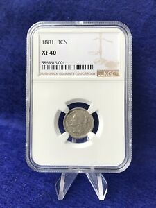 1881 THREE CENT PIECE 3C NICKEL  NGC XF40 LY FINE