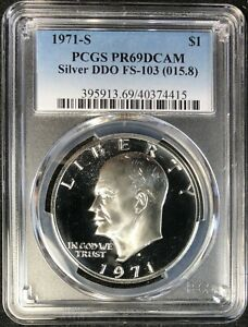 Click now to see the BUY IT NOW Price! 1971 S PCGS PR69 DCAM FS 103 015.8 EISENHOWER IKE SILVER DOLLAR PROOF VARIETY