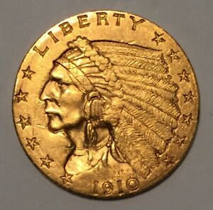 NICE 1910 GOLD UNITED STATES INDIAN $2.50 DOLLAR COIN 110 YEARS OLD 1910 WOW