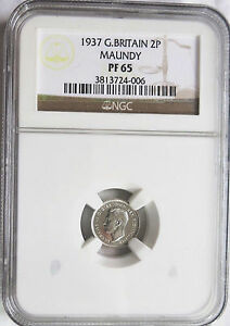 1937 GREAT BRITAIN 2 PENCE MAUNDY SILVER NGC PF 65