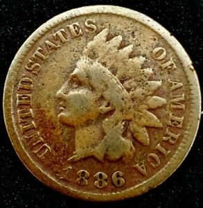 1886 P T 1 1C INDIAN HEAD CENT 20OOC0920 70 CENTS SHIPPING