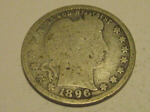 1896 P BARBER QUARTER GOOD 90  SILVER