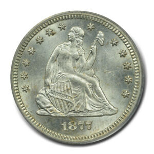 1877 CC 25C LIBERTY SEATED QUARTER PCGS MS63  CAC