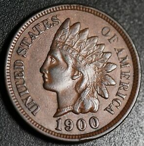 1900 INDIAN HEAD CENT   WITH LIBERTY & NEAR 4 DIAMONDS   AU UNC