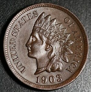 1903 INDIAN HEAD CENT   BU UNC   WITH CARTWHEELING BROWN MINT LUSTER