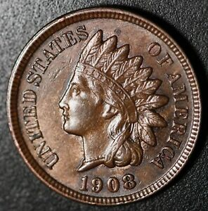 1908 INDIAN HEAD CENT  WITH LIBERTY & NEAR 4 DIAMONDS   AU UNC