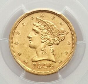 1844 O PCGS UNC $5 GOLD HALF EAGLE TOUGH O MINT DATE IN UNCIRCULATED GRADE