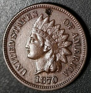 1870 INDIAN HEAD CENT   WITH LIBERTY & DIAMONDS   XF EF DETAILS