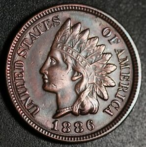 1886 INDIAN HEAD CENT   WITH LIBERTY & 4 DIAMONDS   AU UNC    T2 TYPE 2