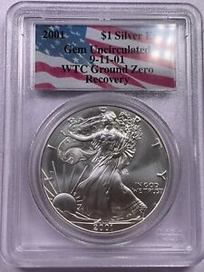 2001 PCGS GEM UNCIRCULATED SILVER EAGLE WTC RECOVERY 9/11 GROUND RECOVERY   4
