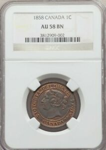 VERY NICE CANADA 1858 LARGE CENT GRADED AU58 BY NGC  LOTS OF ORIGINAL MINT RED