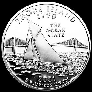 2001 S 25C STATE QUARTER RHODE ISLAND GDC PROOF CN CLAD 70 CENTS SHIPPING