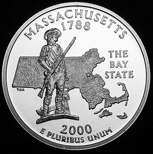 2000 S 25C STATE QUARTER MASSACHUSETTS GDC PROOF CN CLAD 70 CENTS SHIPPING