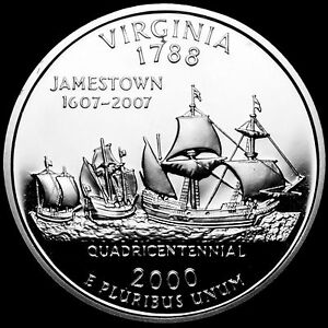 2000 S 25C STATE QUARTER VIRGINIA GDC PROOF CN CLAD 70 CENTS SHIPPING