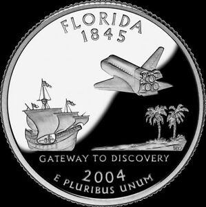 2004 S 25C STATE QUARTER FLORIDA GDC PROOF CN CLAD 70 CENTS SHIPPING