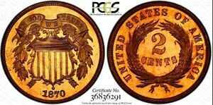 Click now to see the BUY IT NOW Price! 1870 PROOF TWO CENT PIECE PCGS PR 66 RD WITH CAC CERTIFICATION   LOOKS CAMEO