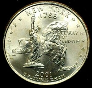 2001 P 25C STATE QUARTER NEW YORK BU CLAD 20UC0225 2 70 CENTS SHIPPING
