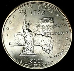 2001 P 25C STATE QUARTER NEW YORK BU CLAD 20UC0225 1 70 CENTS SHIPPING
