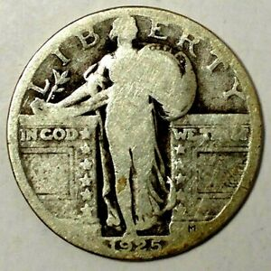 1925 P 25C STANDING LIBERTY QUARTER 90  SILVER 19UCT0427 70 CENTS SHIPPING