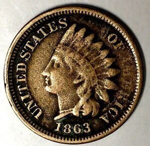 1863 P 1C INDIAN HEAD CENT 18HCT1504 70 CENTS SHIPPING