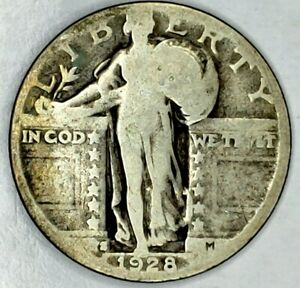 1928 S 25C STANDING LIBERTY QUARTER 90  SILVER 19ULO0928 70 CENTS SHIPPING