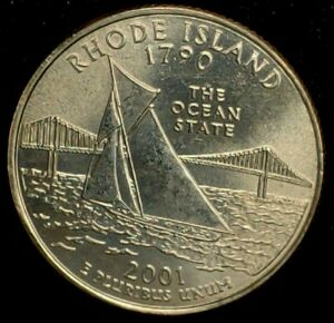 2001 D 25C STATE QUARTER RHODE ISLAND BU CLAD 20OW0405 70 CENTS SHIPPING