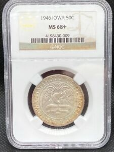 1946 NGC MS 68  IOWA COMMEMORATIVE   STUNNING REGISTRY GRADE 1 OF FINEST KNOWN