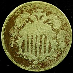 1867 P 5C SHIELD NICKEL NO RAYS 20RR1015 70 CENTS SHIPPING