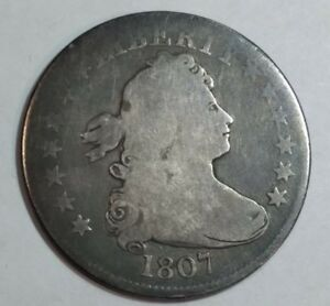 1807 GOOD DRAPED BUST US SILVER QUARTER DOLLAR.