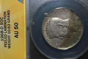 1968 D SILVER CLAD KENNEDY 50C ANACS CERTIFIED AU 50 ERROR COIN