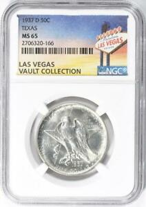 1937 D TEXAS SILVER COMMEMORATIVE HALF DOLLAR   NGC MS 65   CASINO VAULT