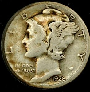 1928 S 10C MERCURY DIME 90  SILVER 19LRR0501 70 CENTS SHIPPING