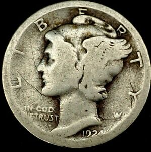 1924 S 10C MERCURY DIME 90  SILVER 20OLW0214 70 CENTS SHIPPING