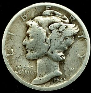 1945 S 10C MERCURY DIME 90  SILVER 20LOC0809 1 70 CENTS SHIPPING