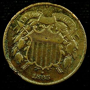 1865 P 2C COPPER TWO CENT PIECE 200OC1017 70 CENTS SHIPPING