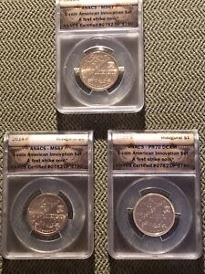ANACS 2018 AMERICAN INNOVATION 3 COIN SET. 782 OF 1790. PR70 DCAM MS 67 MS 67
