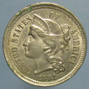 Click now to see the BUY IT NOW Price! SHARP LUSTROUS CHOICE AU 1881 THREE CENT NICKEL