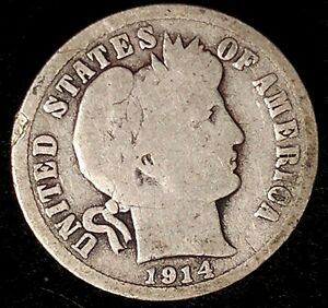1914 D 10C BARBER DIME 90  SILVER N1016OTL 70 CENTS SHIPPING
