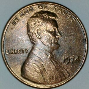 1974 LINCOLN MEMORIAL CENT  ERROR  IMPROPER ALLOY MIX WITH DIE CRACK / REVERSE