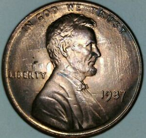 1987 LINCOLN MEMORIAL CENT ERROR STRONG ROTATED DIE CLASH BOTH SIDES.