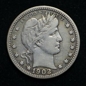 1902 BARBER SILVER QUARTER  BB5702