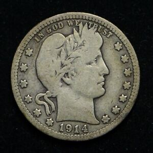 1914 D BARBER SILVER QUARTER  BB5699